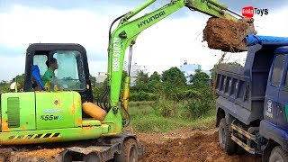Excavator and Dump Truck working with the Dirt ♫ Song for Kids Dance