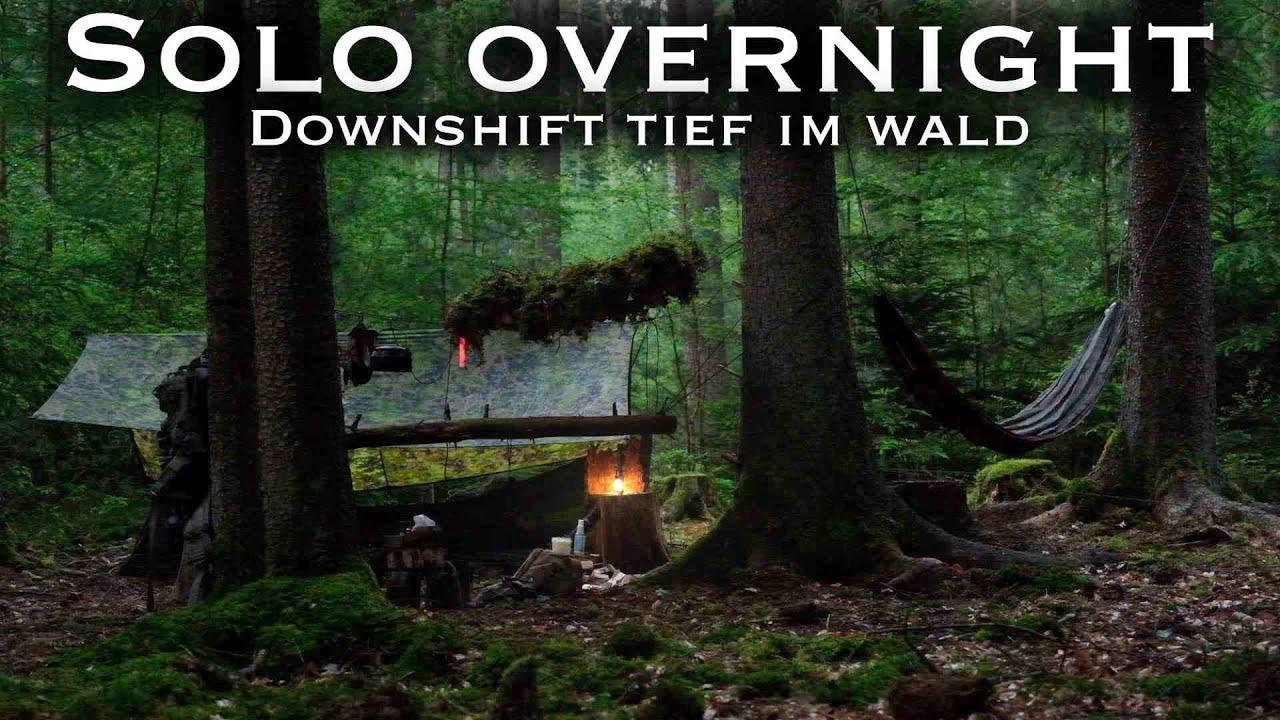 Solo Overnight - Bushcraft tief im Wald  - Feuer - Regen - Sonnenaufgang & Mücken - Downshift -