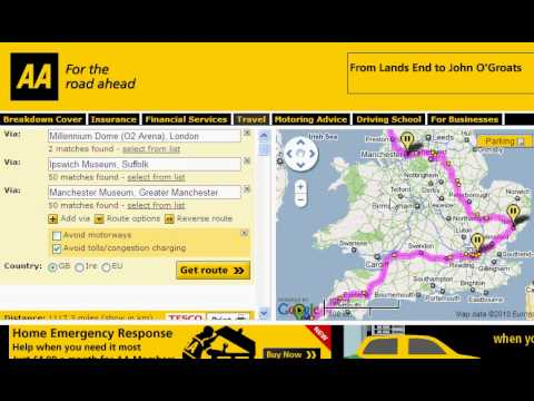 Using the AA Route Planner for Planning a UK Road Trip