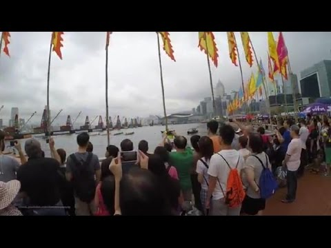 【Hong Kong Walk Tour】 dragon boat @ central promenade 2016