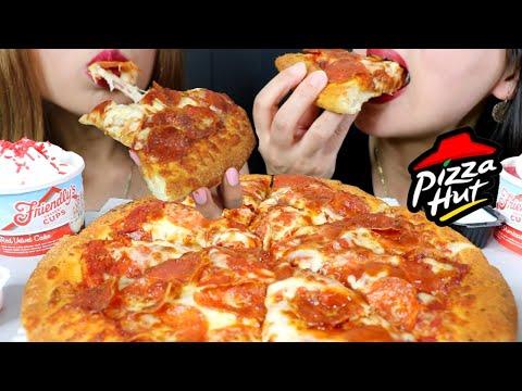 ASMR CHEESY PEPPERONI PIZZA (Pizza Hut) + ICE CREAM SUNDAES 리얼사운드 먹방 | Kim&Liz ASMR