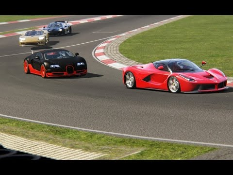 Battle Bugatti Veyron Super Sport vs Ferrari LaFerrari Racing at Nurburgring-Nordschleife
