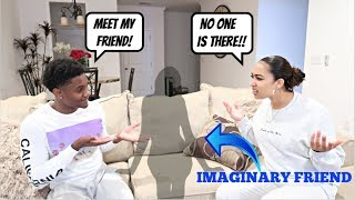 Talking To An IMAGINARY FRIEND Prank On Girlfriend!! *SHE FREAKS OUT*