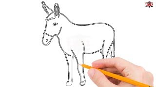 How to Draw a Donkey Step by Step Easy for Beginners/Kids – Simple Donkeys Drawing Tutorial