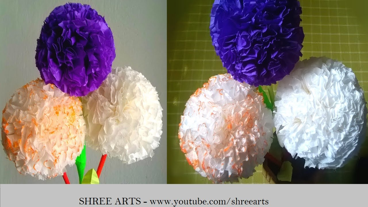 How To Make Round Tissue Paper Flower Diy Paper Shreearts Youtube