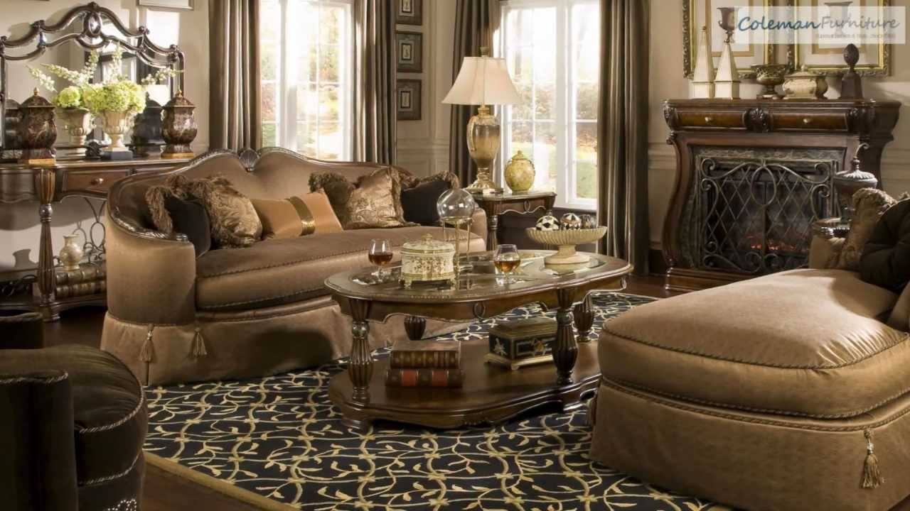 the sovereign living room collection from aico furniture youtube. Black Bedroom Furniture Sets. Home Design Ideas