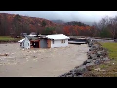 Home completely swept under bridge in New Hampshire, see it