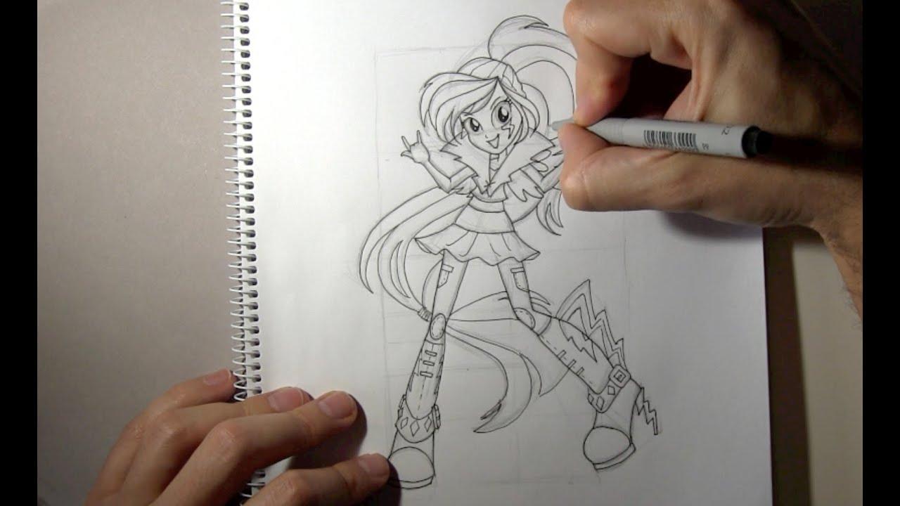 Cómo dibujar a Rainbow Dash Equestria Girls Rainbow Rocks - YouTube