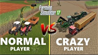 Farming Simulator 17 | NORMAL PLAYER vs CRAZY PLAYER : Gameplay Comparison