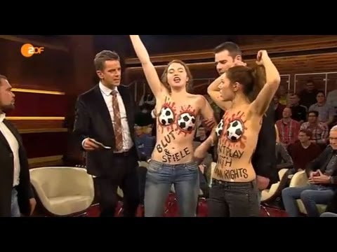 Two NAKED Activists Protest in TV (ZDF) SHOW !! Boycott FIFA Mafi  Markus lanz