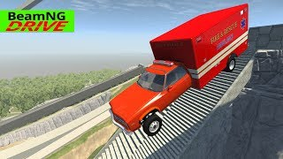 High Speed Jumps | Crashes #49 - BeamNG Monster Truck, Police car, Ambulance, Fire Truck