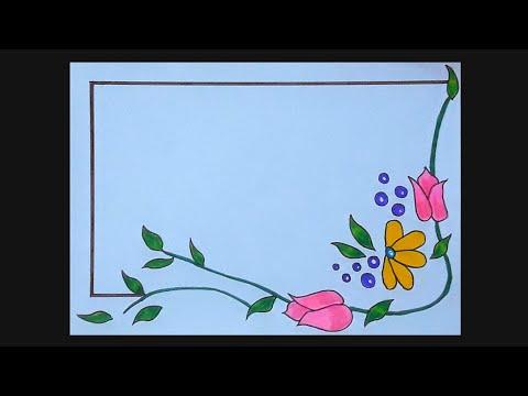 Flower Border Designs Flower Border Design For Projects Flower Border Design Drawing Youtube,Address Label Designs