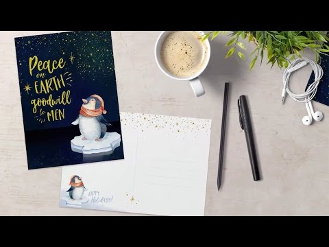 PHOTOSHOP TUTORIAL | How To Design An Illustrated Holiday Postcard