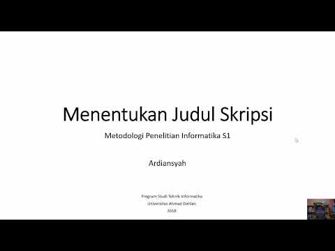 Menentukan Judul Skripsi Metodologi Penelitian Informatika Youtube