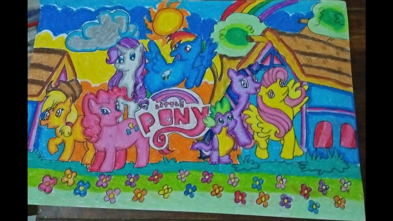 Belajar Menggambar Dan Mewarnai My Little Pony Pakai Oil Pastel