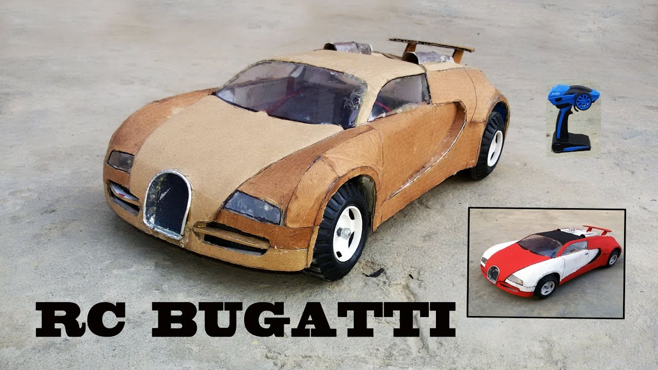 wow super rc bugatti veyron diy at home cardboard bugatti how to make electric toy car. Black Bedroom Furniture Sets. Home Design Ideas