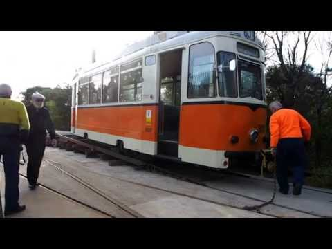 Sydney Tramway Museum - Unloading of Berlin 3007
