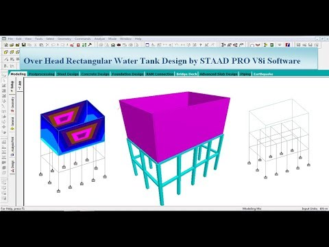 Elevated Rectangular Water Tank Design by STAAD Pro V8i Software