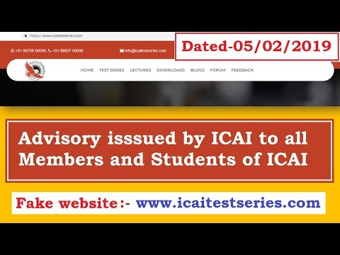 ICAI Announcement || Advisory to Members and Students of ICAI || Fake Website