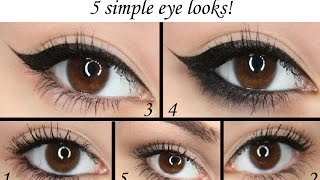 5 simple eye looks! Perfect if you're in a rush or a beginner to makeup! Tutorials Thumbnail