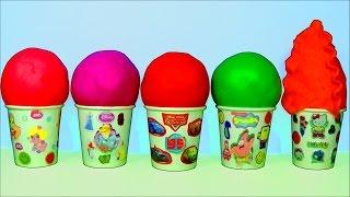 play doh ice cream surprise eggs party animals spongebob hello kitty disney princess cars play doh