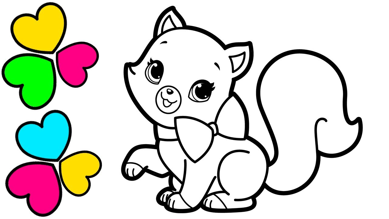 Glitter Cat Coloring Book For Kids Youtube