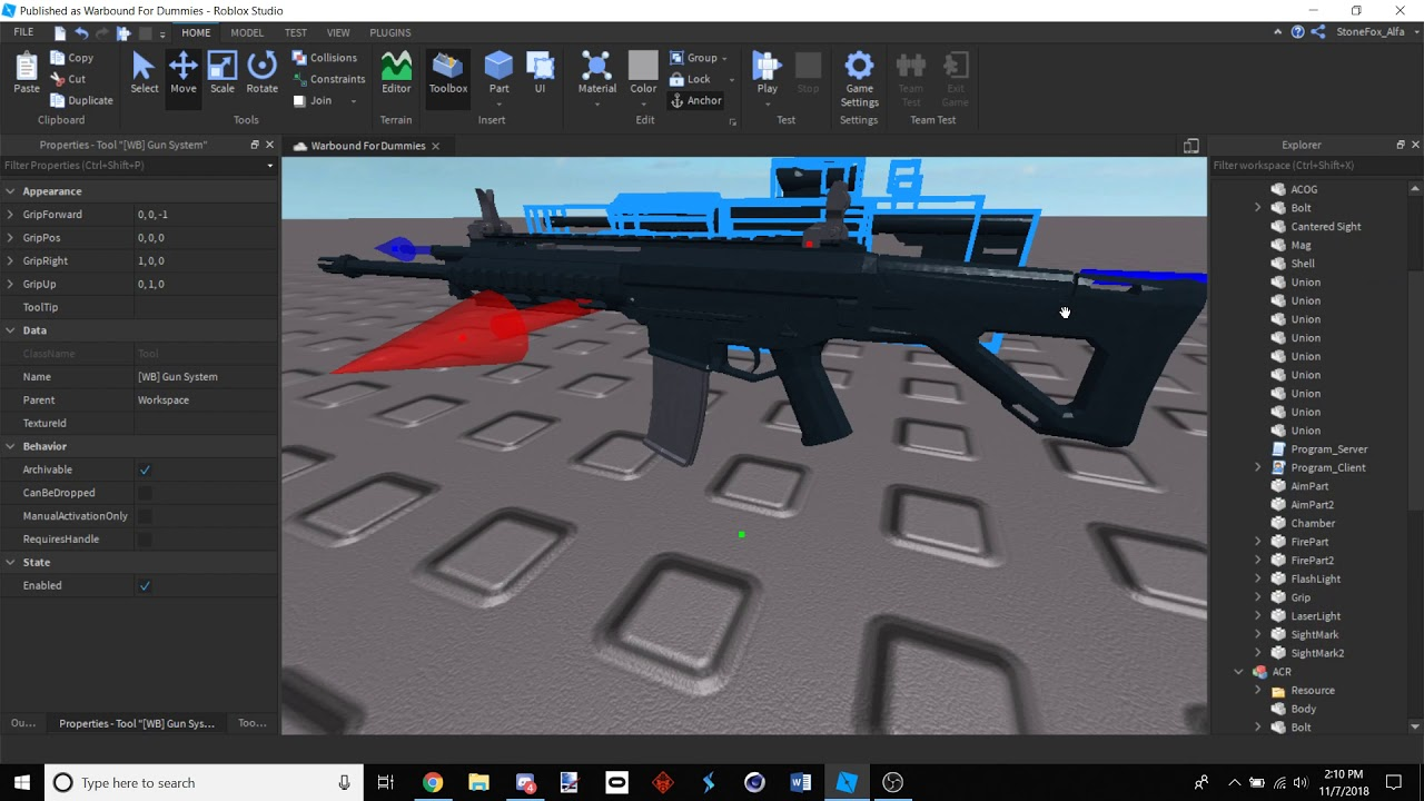 Roblox Free Ready To Use Warbound Guns Link In Desc By - fe gun kit glock roblox