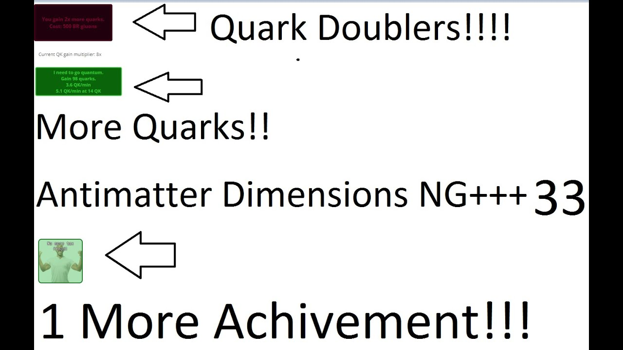 Antimatter Dimensions NG+++ Episode 33 - Quark Doublers and 1 more achivement.