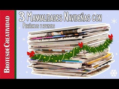 #3 Decoraciones Navideñas con Reciclaje de Papel [REC] ~ Brotes de Creatividad