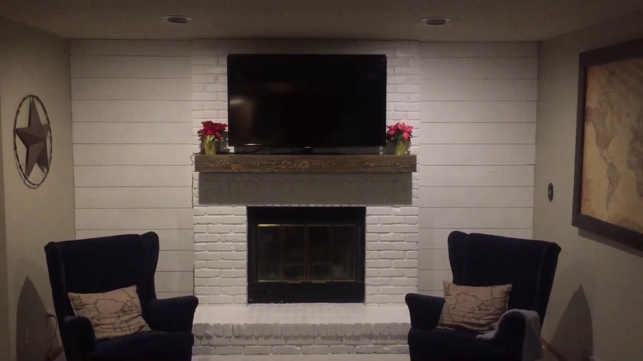 How To Install Shiplap Siding On Wall Beside Fireplace