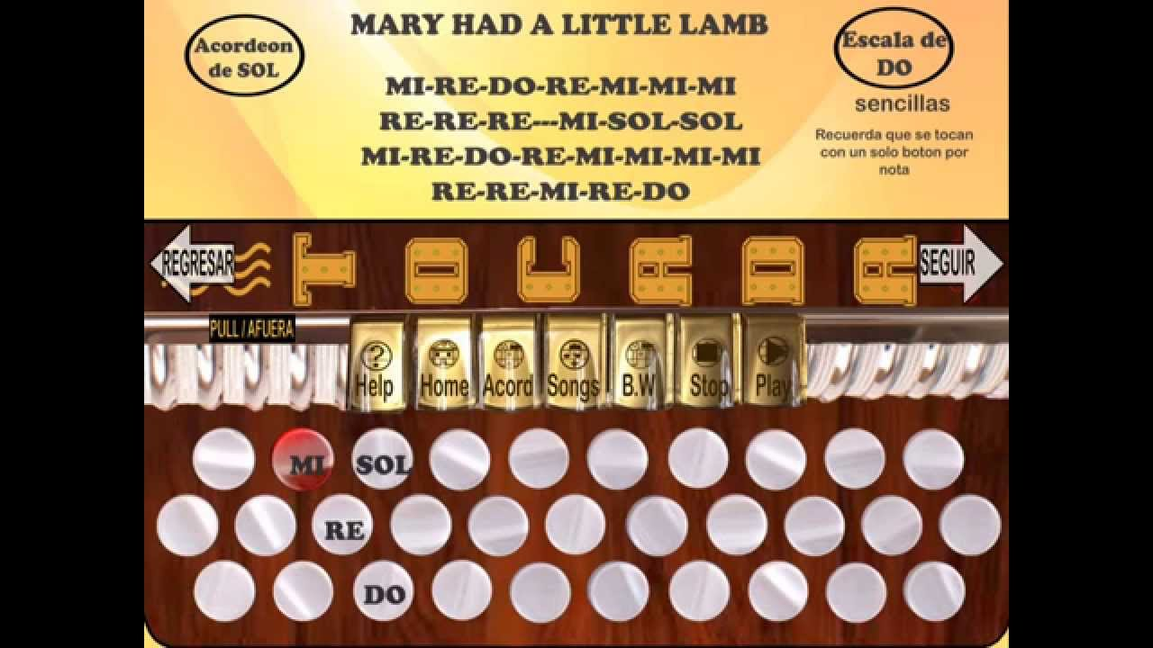 Play Mary had a little lamb in Easy Accordion 1 App