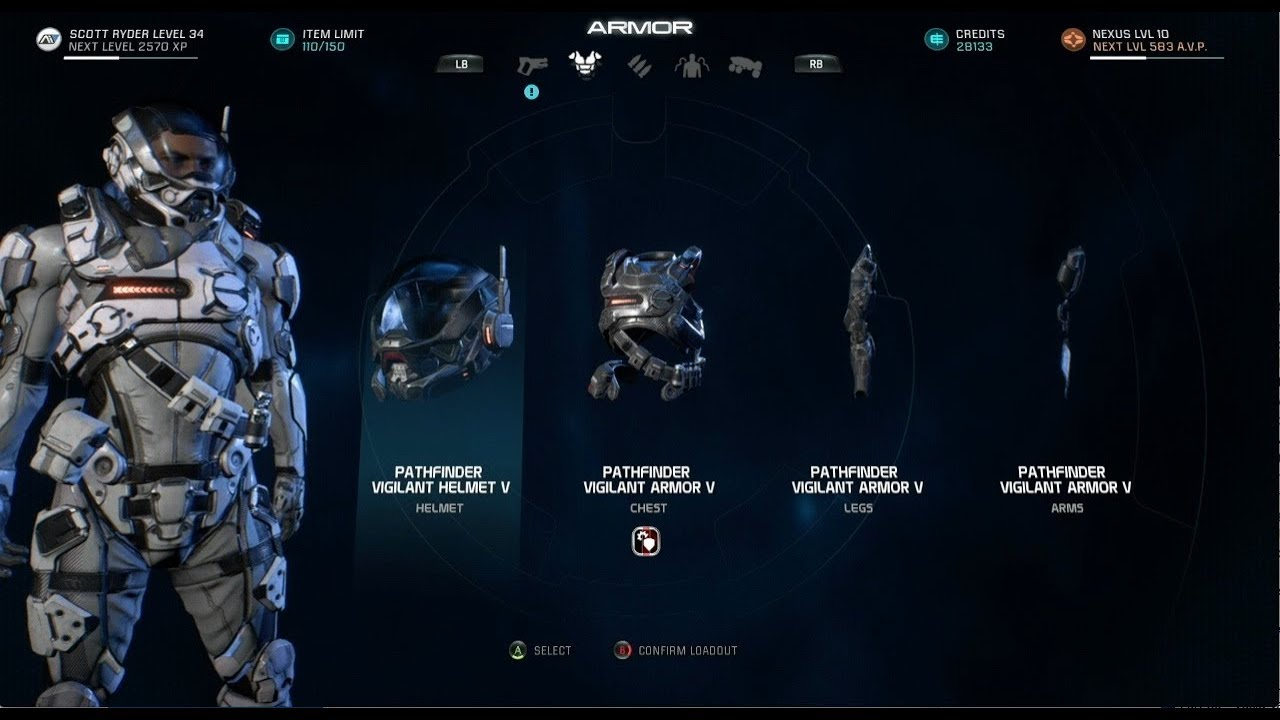 Weapons And Armor Upgrade To Lvl V Mass Effect Andromeda Youtube