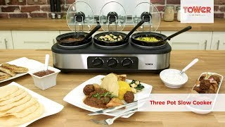 Tower Three Pot Slow Cooker