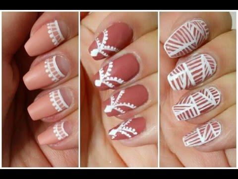 Unhas Lindas: 3 Nude U0026 White Nail Art Designs (Unhas Decoradas) Part 98