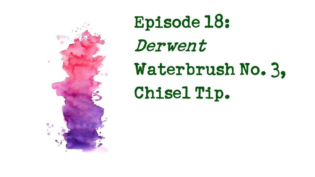 Derwent Waterbrush Water Ink Brush Set Fine Medium Chisel Tips 2301975