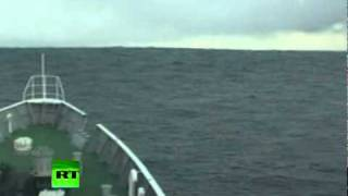 Tsunami Climbing: Incredible video of ship heading into wave in Japan thumbnail
