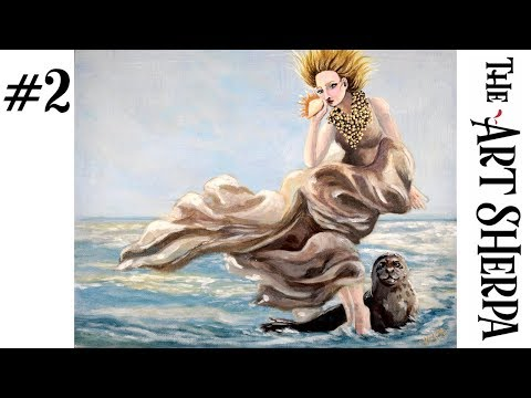 How to paint with Acrylic on Canvas the Selkie BAQ fairytale #2
