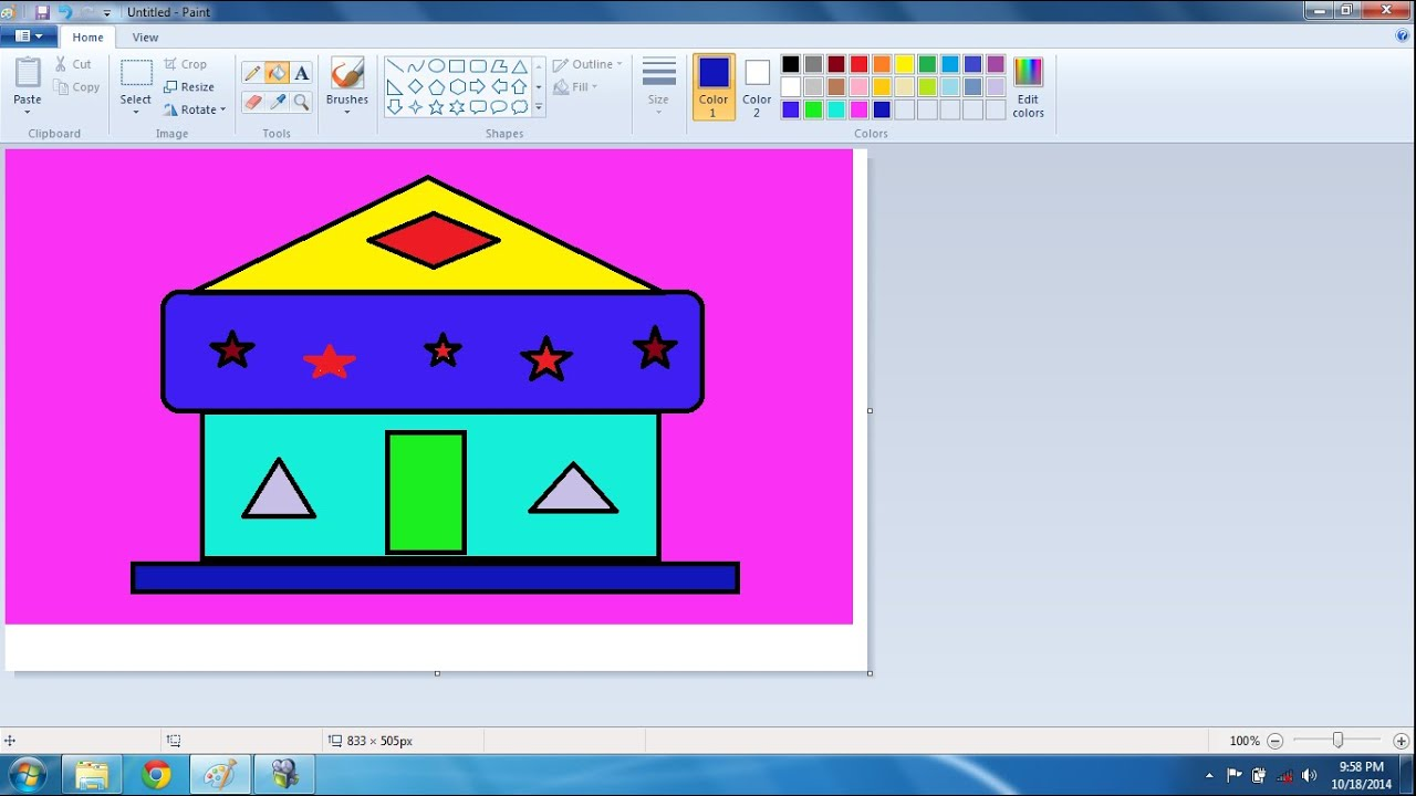 Basic MS Paint Class_ How to Draw a Home in Microsoft Paint - YouTube
