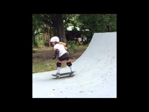 Skater girl age 8 Sierra Kerr skateboarding. Josh Kerr daughter skateboarding