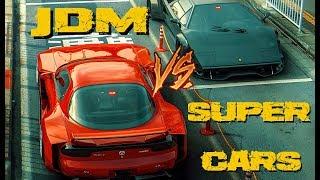 JDM VS SUPERCARS!(Mazda rx7, Bugatti Veyron, Lamborghini & more)