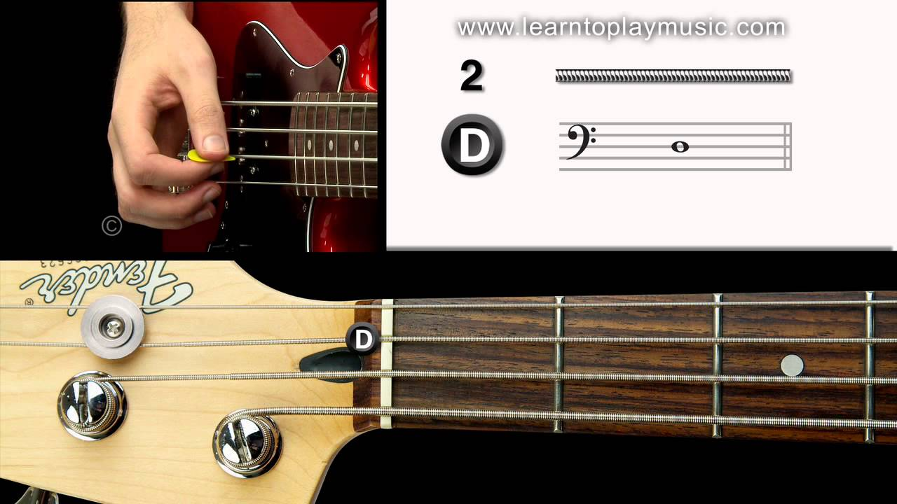 03 bass tuning 2nd string d note youtube. Black Bedroom Furniture Sets. Home Design Ideas