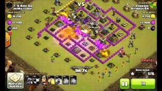 CV7 dando PT em CV8 full de defesas - Clash of Clans