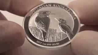 Close-up view of the 2017 Australian Kookaburra silver bullion coin