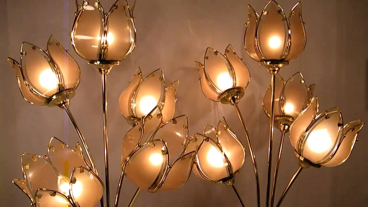 Hollywood Regency Smoke Glass Lotus Oriental Flower Lamps Youtube