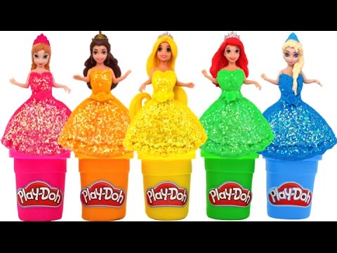 Play Doh Sparkle Disney Princess Dresses Molds Learn Colors RL