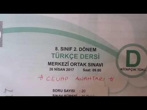 2016-2017 TEOG-2 Türkçe Sınavı Cevapları ( D Kitapçığı )