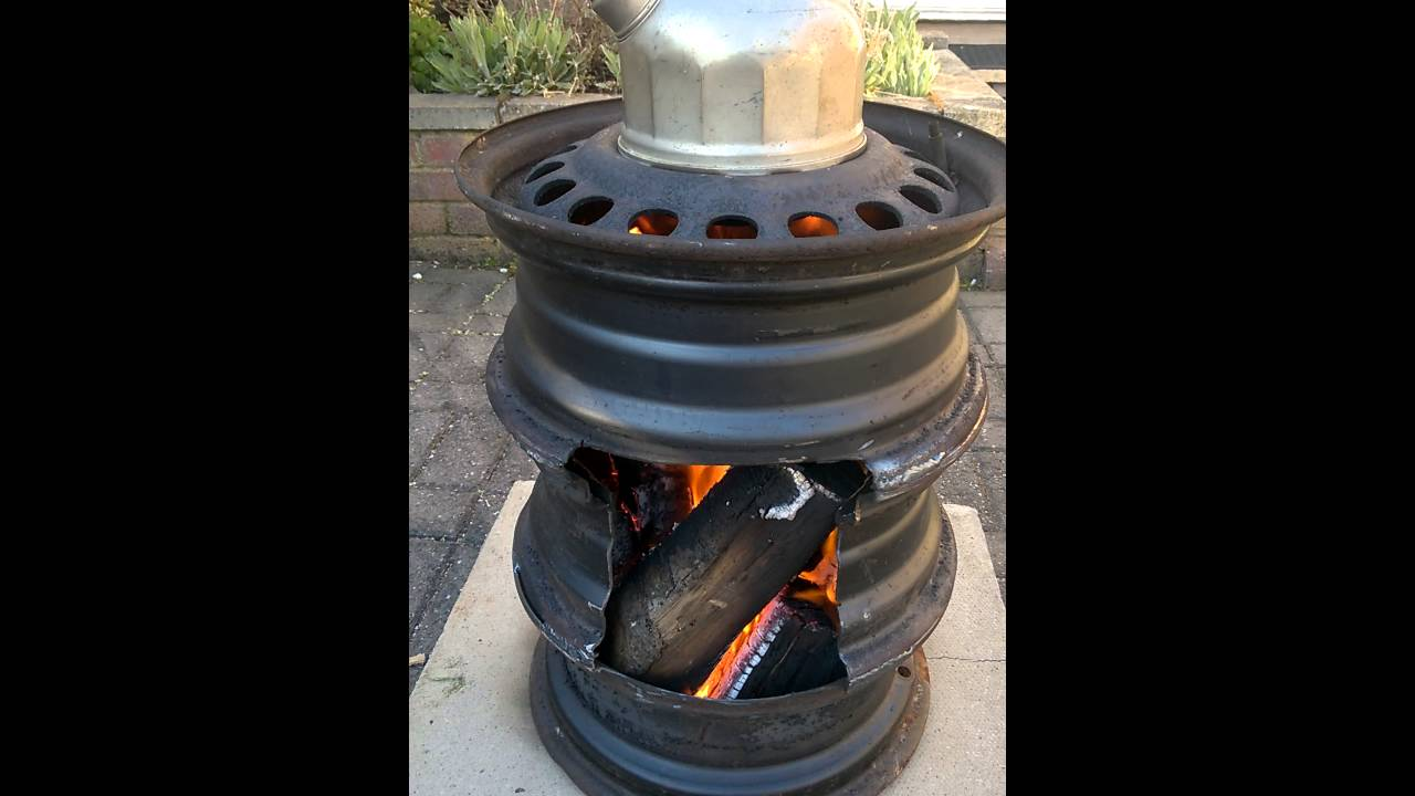 Patio Heater Made From Car Wheels