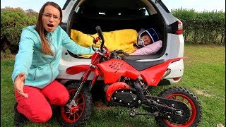 Funny Baby Ride on New Dirt Cross Bike Mini Power Wheel Pocket Bike Hide and Seek in Trunk Mommy