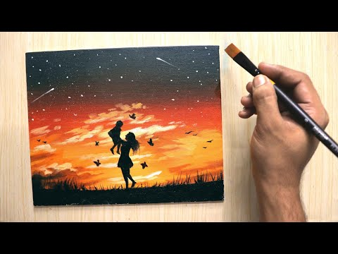 Acrylic painting for beginners of beautiful scenery of Mother's love