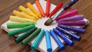Using Crayons To Paint A Dreamy Night Sky Acrylic Painting Tutorials #683 Satisfying Art ASMR